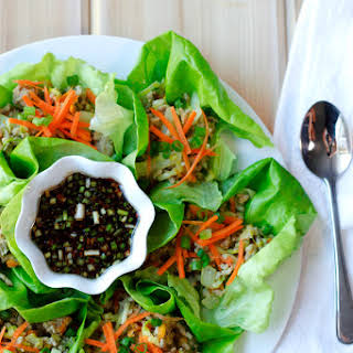 Gyoza Lettuce Wraps with the Best Dipping Sauce Ever.
