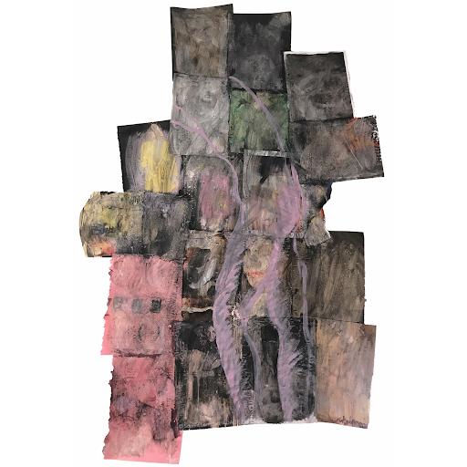 vouloir_etre_aimee_l_absence_sophie_lormeau_peinture_papier_magazine_dissout_technique_mixte_cortographie_interieure_dualite_visible_invisible_corps_vs_psyche_artiste_peintre_france_art_contemporain_singulier_original_fragilite_obscur_rose_adagp_paris_2020_©