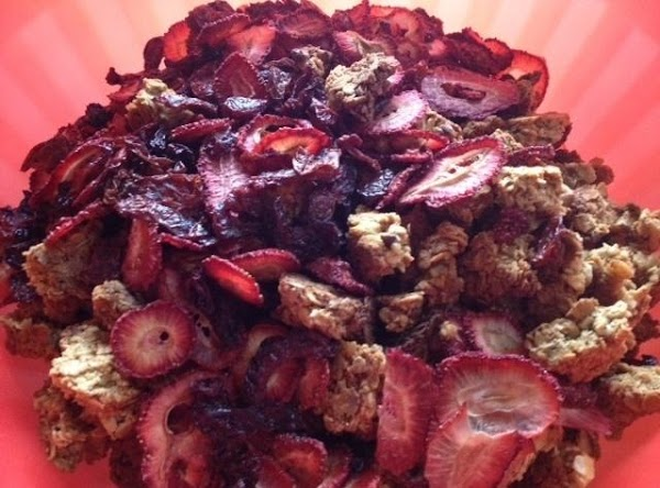 Break the granola into pieces of desired size and stir in dried fruit.