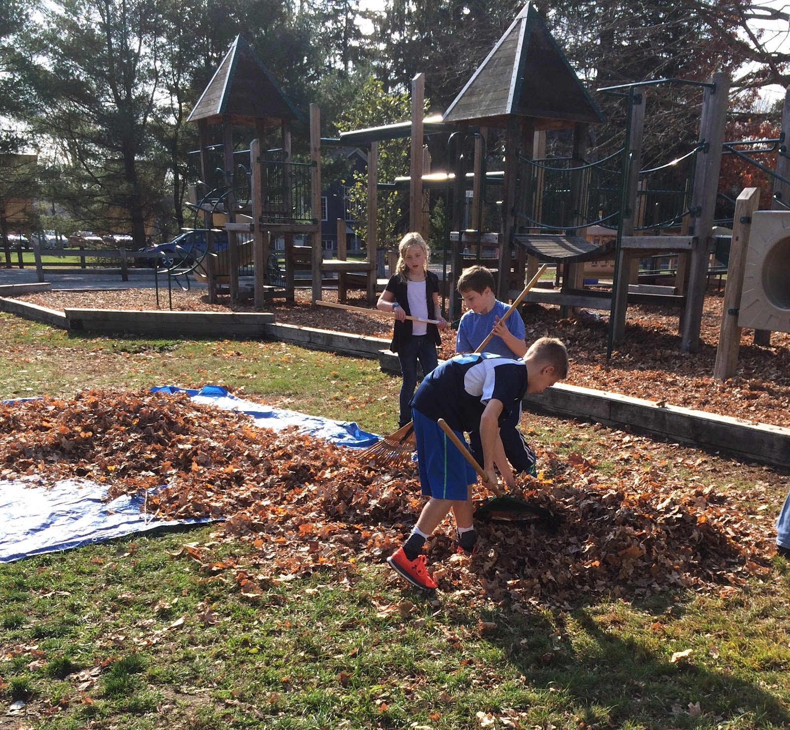 students performing clean up on the playground