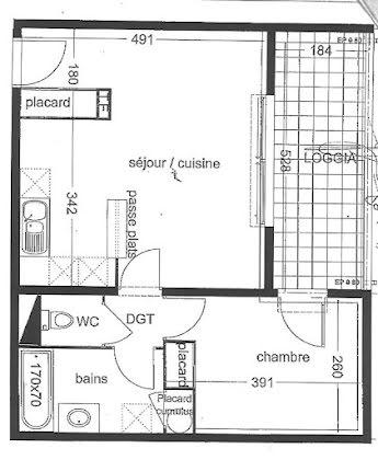 Location appartement 2 pièces 43,8 m2