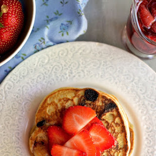 Strawberry-Chocolate Chip Pancakes with Strawberry Maple Syrup Recipe