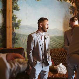 Thoughtfulness by Kate Gansneder - Wedding Groom ( wedding dress, groom, couple, wedding photography, groomsmen, wedding )