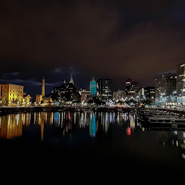Liverpool Docks at Night by Jamie Ledwith - Buildings & Architecture Office Buildings & Hotels ( water, reflection, liverpool, night, docks )