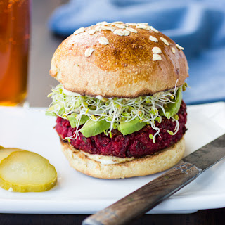 Quinoa, Beet and Chickpea Burgers.