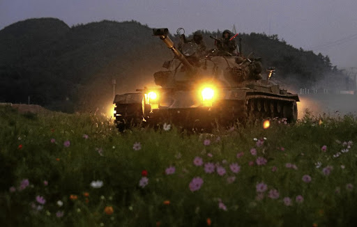 South Korean marines take part in a military exercise on South Korea's Baengnyeong Island, near the disputed sea border with the North, on September 7 2017. Picture: REUTERS