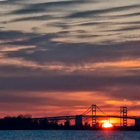 Poping Up by John Goff - Landscapes Sunsets & Sunrises ( chesapeake, bay, bridge )