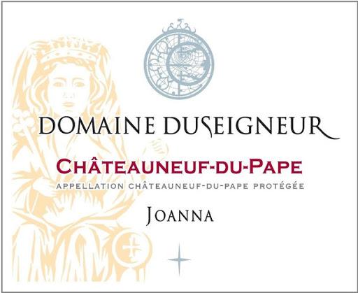Etiquette joanna vin rouge domaine duseigneur à Chateauneuf du pape