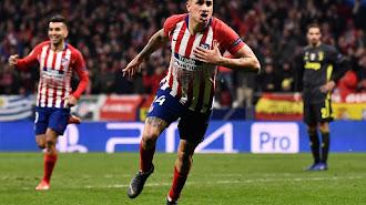 José María Giménez celebrando el 1-0 del Atlético.
