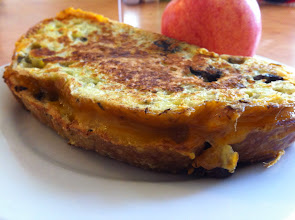 Photo: Grilled Cheese (Egg dipped olive sourdough & cheddar cheese.)
