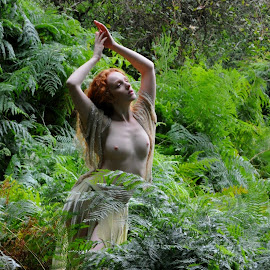 Ferndance by DJ Cockburn - Nudes & Boudoir Artistic Nude ( skirt, natural light, nude, topless, nature, woman, forest, redhead, ivory flame, standing, portrait )