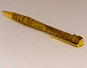 "Photo: Jerry Mauch - Slimline Pen - 5 1/4"" - Figured Asian Pear"