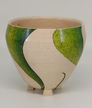 "Photo: Tina Chisena 5 1/2"" x 5 1/2"" footed bowl [maple, burning, color]"