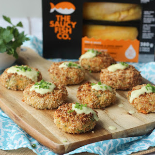 Gluten Free Cheese Stuffed Fish Cakes with Aged Cheddar Sauce.