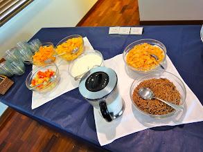 Photo: More breakfast: Fruit, careal, and yogurt.