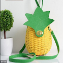 Rattan bag design icon