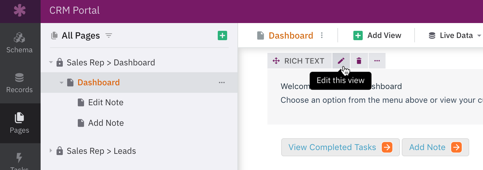 Hand pointing to 'edit this view' option for Rich Text views in the Knack Builder