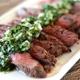 Grilled Skirt Steak with Cilantro Chimichurri Sauce.