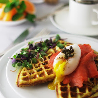 Sweet Potato Waffles, Duck Eggs and Smoked Salmon.