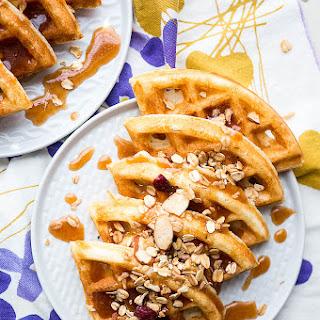 Crispy Waffles with Cinnamon Honey Butter.
