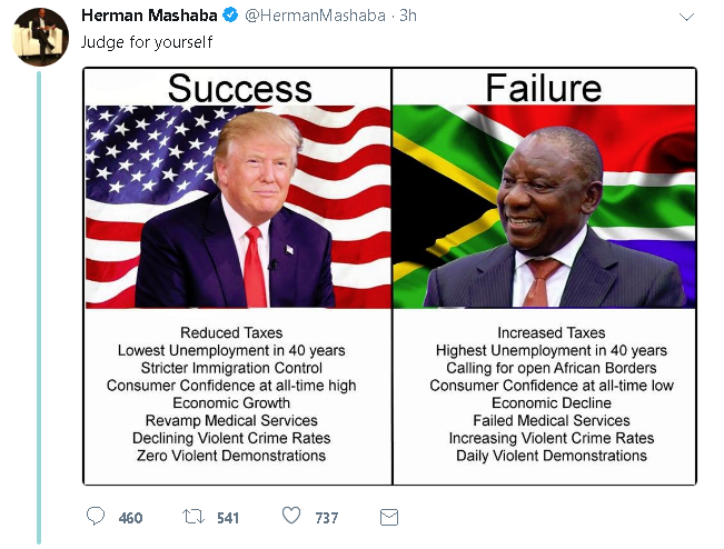 In a tweet on Monday, City of Johannesburg Mayor Herman Mashaba compared Donald Trump to President Cyril Ramaphosa. Mashaba later deleted the tweet.