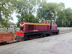 """Photo: 014 A big engine working on the shuttle trains was South African Funkey diesel loco """"Castell Caernarfon"""" ."""