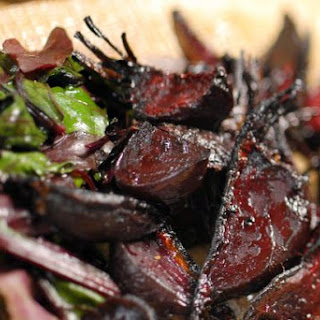Roasted Beetroot with Sauteed Greens.