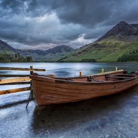 the rowing boat by Lester Woodward - Landscapes Travel ( sunset, grey, rowboat, boat, buttermere, lake district )