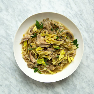 Chicken-Barley Soup with Herbs and Egg Noodles.