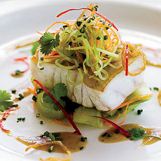 Grouper with Cucumber Salad and Soy-Mustard Dressing.