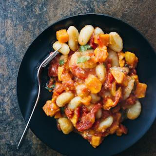 Sweet Potato Gnocchi With Garlic Tomato Sauce.