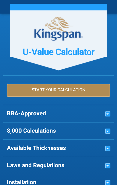 Kingspan U value Calculator- screenshot