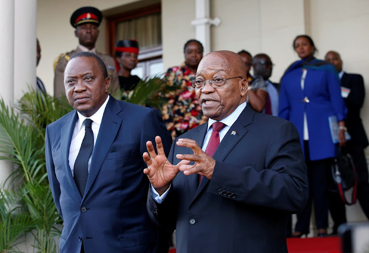 President Jacob Zuma and Kenyan President Uhuru Kenyatta in Durban on Thursday. Picture: REUTERS