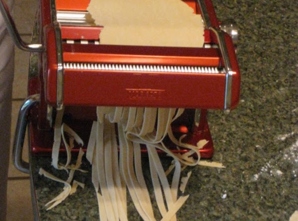 Use your machine or pizza cutter, cut into strips of desired width. Cook for about...