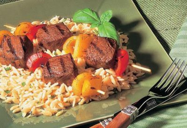 Sirloin Kabobs With Parmesan Orzo Recipe