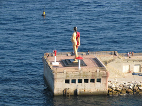 Photo: Big half-skeleton pregnant lady in  Fontvieille harbour