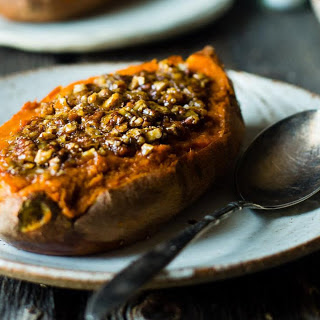 Pecan Pie Twice-Baked Sweet Potatoes [Vegan, Gluten-Free].