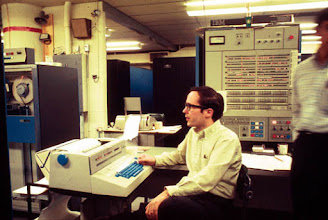 Photo: Mike Alexander at the console of the IBM S/360-67 duplex at the Computing Center, North University Building, University of Michigan, Ann Arbor, Michigan, USA, c. 1968