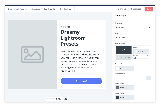 screenshot of convertkit digital product setup