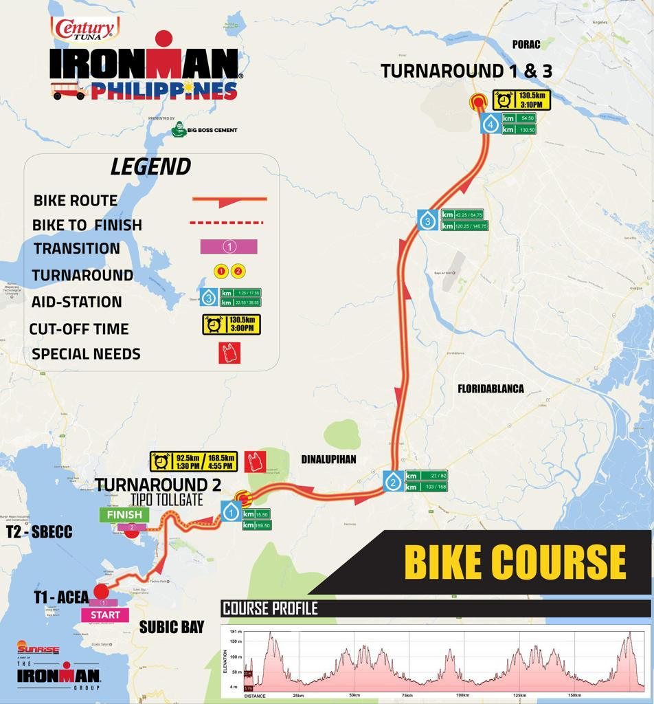 Bike course map IM Philippines