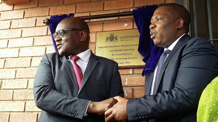 David Makhura and Panyaza Lesufi at the opening of Nomzamo Madikizela-Mandela Primary School. Picture: GAUTENG DEPARTMENT OF EDUCATION VIA TWITTER