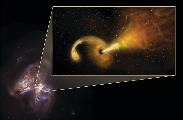 Artist conception of a tidal disruption event (TDE) that happens when a star passes fatally close to a supermassive black hole, which reacts by launching a relativistic jet. It zooms out of the central region of its host galaxy, Arp299B, which is undergoing a merging process with Arp299A (the galaxy to the left).