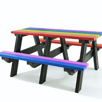 Recycled Plastic Colourful Picnic Table