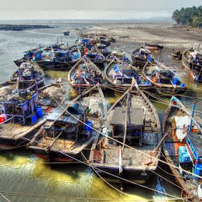 Ready for a ride by Aparajita Saha - Transportation Boats ( local fishermen boats, anchored, boats, ocean )