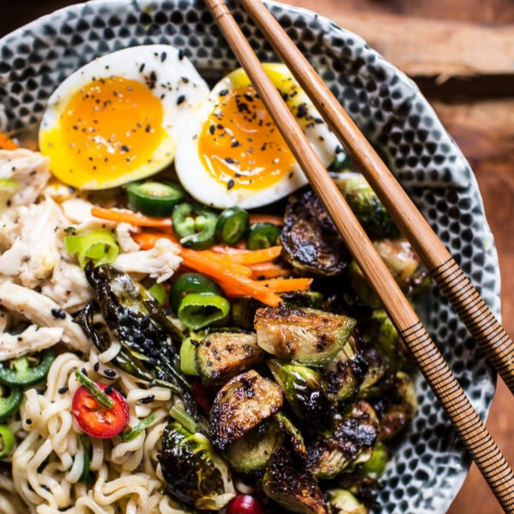 30 Minute Chicken Ramen with Miso Roasted Brussels Sprouts + Ginger Butter. Recipe