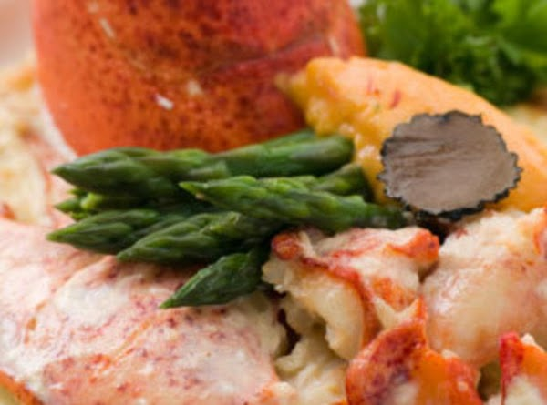 Methods/steps  Cook lobster tail; dice the lobster meat. Simmer white sauce with mushrooms, mustard, nutmeg...