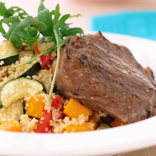 Spicy Steak with Roasted Vegetable Couscous.