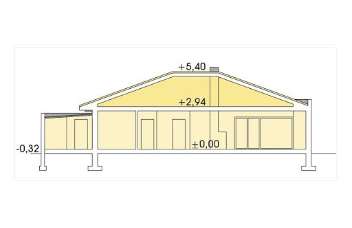 Alabama 3 wersja C z pojedynczym garażem - Przekrój