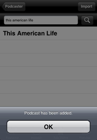 Podcaster for iPhone add podcast confirmation