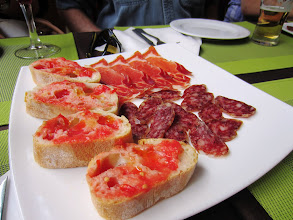 Photo: Tapas tour -- first stop -- traditional bread with tomato and olive oil, ham and sausage